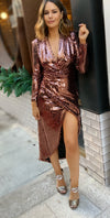 LAUREN SEQUIN DRESS - Bronze