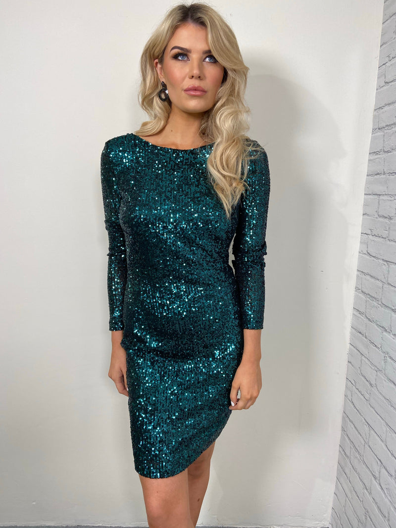 ZOÉ SEQUIN COWL BACK DRESS