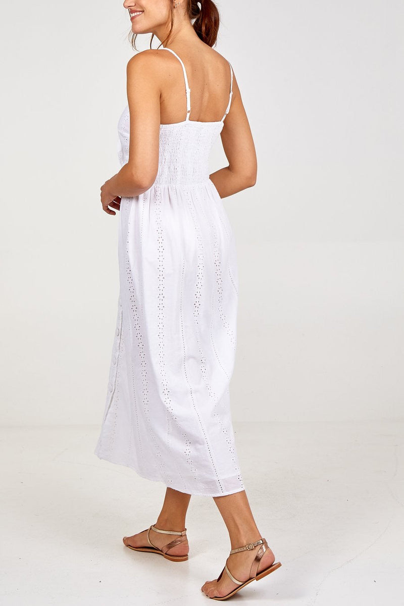 LILY TIE FRONT BROIDERY DRESS - White