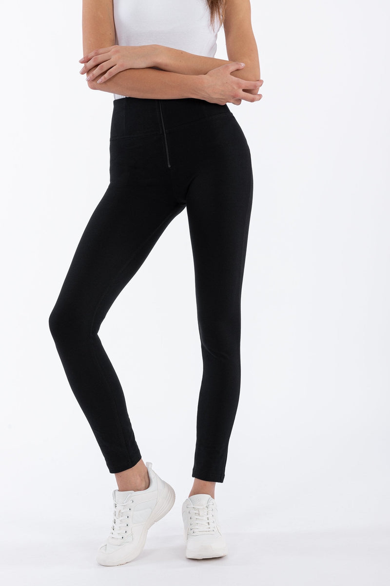 FREDDY HIGH WAIST SKINNY BLACK SELF TONE ZIP