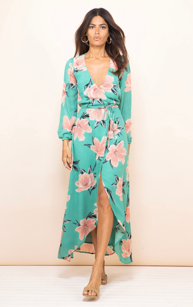 JAGGER WRAP DRESS IN SAGE TULIP - Dancing Leopard