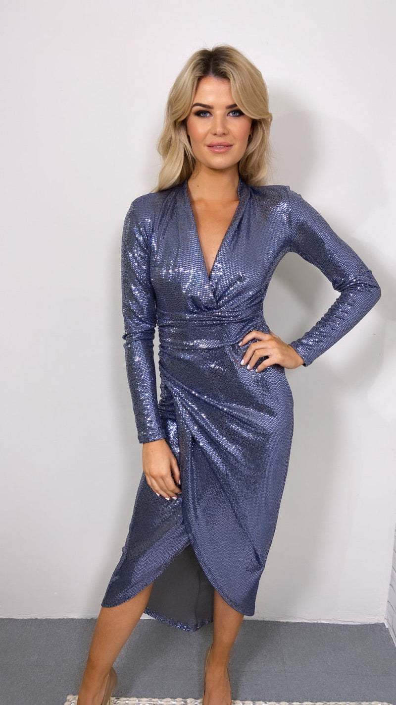 lauren, midi dress, lauren midi dress, smoky silver, smoky silver sequin, sequin, sequins, sequin dress, smoky silver sequin dress,