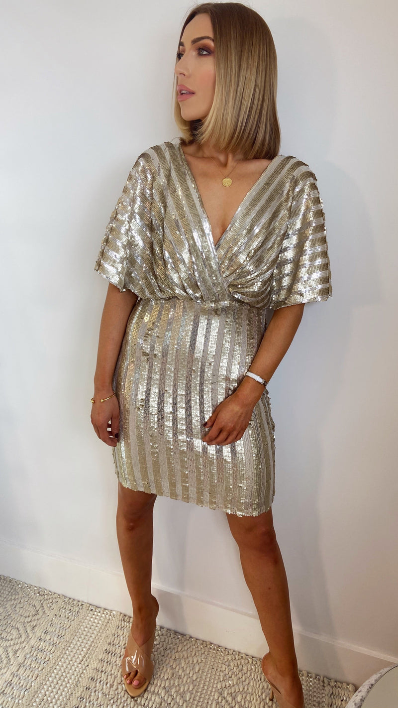 PRIMROSE SEQUIN DRESS - Light Gold