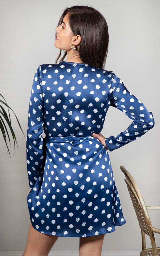 43bea8a0453 MARLEY WRAP DRESS IN NAVY DOTTY - Dancing Leopard – Coco Boutique