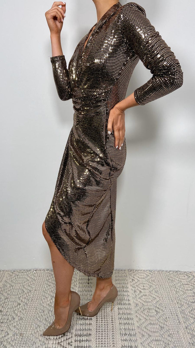 lauren, midi dress, lauren midi dress, gold, gold sequin, sequin, sequins, sequin dress, gold sequin dress,