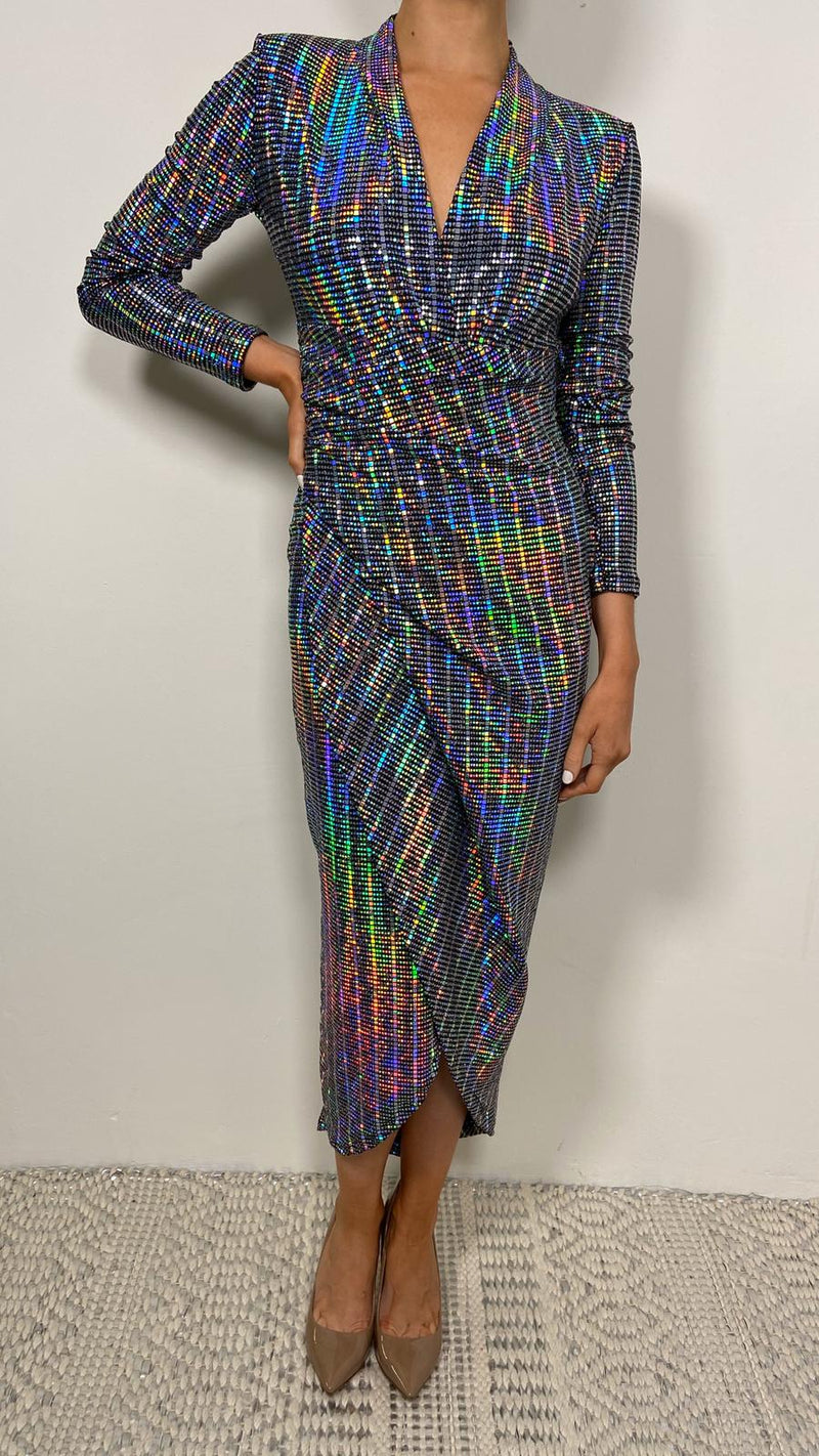 LAUREN METALLIC MIDI DRESS - Holographic, sequin, holograph dress, midi dress, holograph sequin,