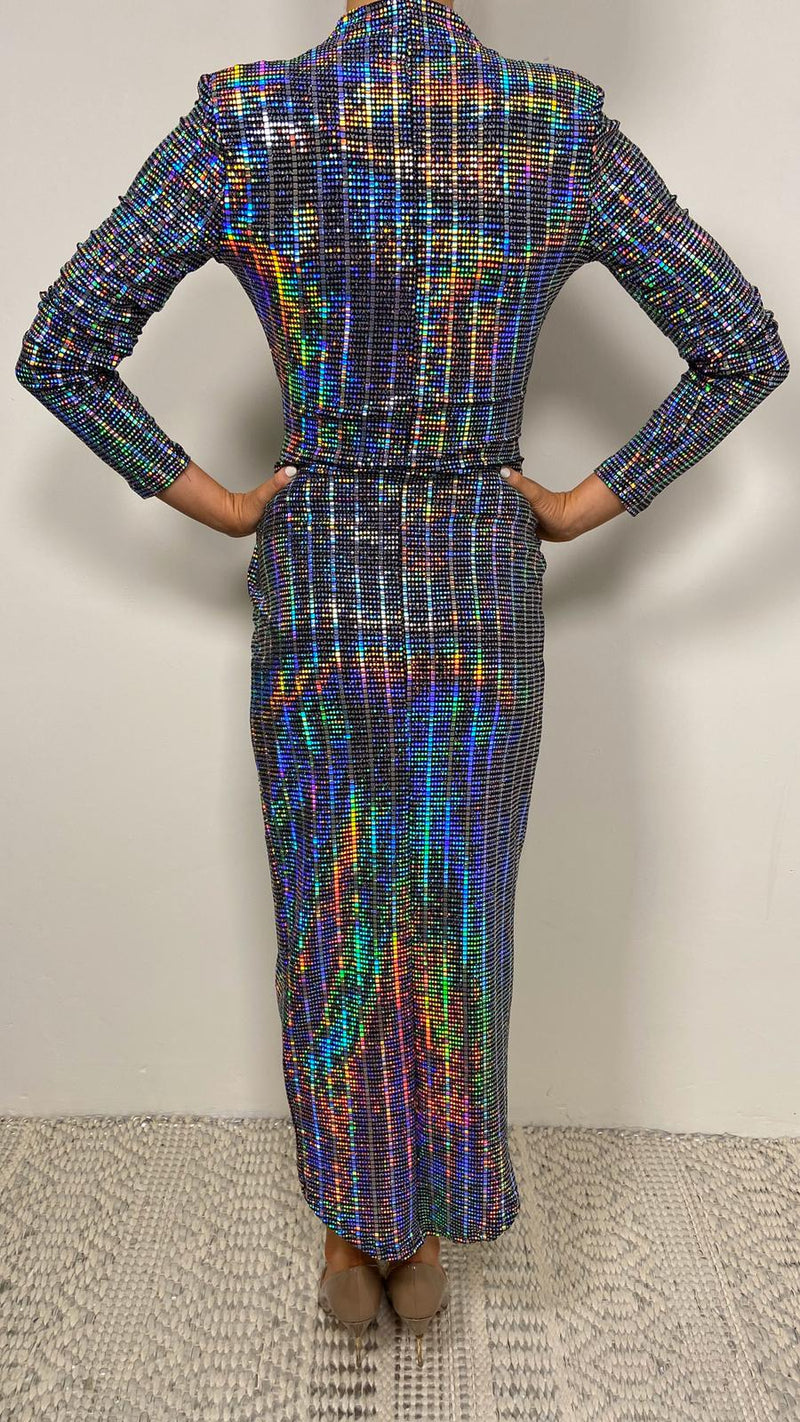 LAUREN METALLIC MIDI DRESS - Holographic, sequin, holograph dress, midi dress, holograph sequin