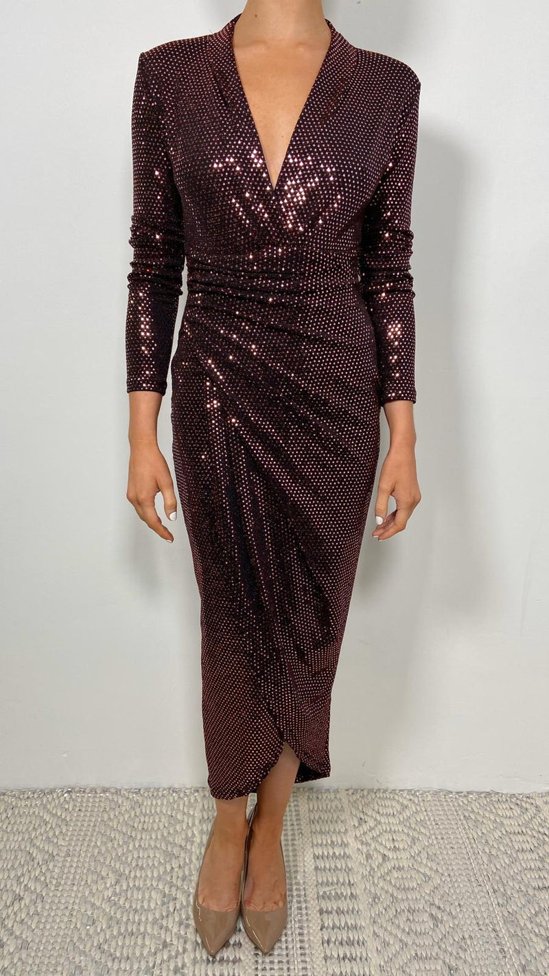 LAUREN METALLIC MIDI DRESS - Red, sequin, sequin dress, red sequin, red sequin dress, midi dress, long sleeves