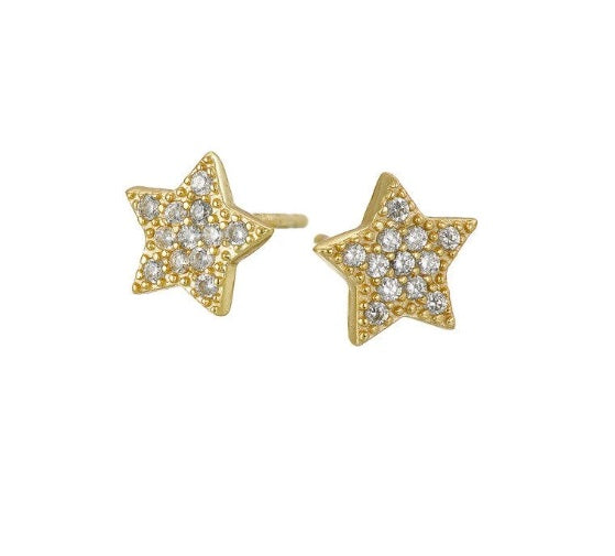 COCO BOUTIQUE, MARY K, MARY K JEWELLERY, GOLD, GOLD EARRINGS, GOLD STUDS, 18 CARAT GOLD, PAVE STAR STUDS