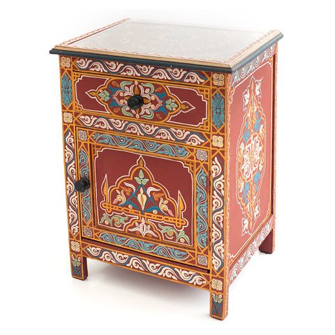 Hand Painted Red Bedside Cabinet