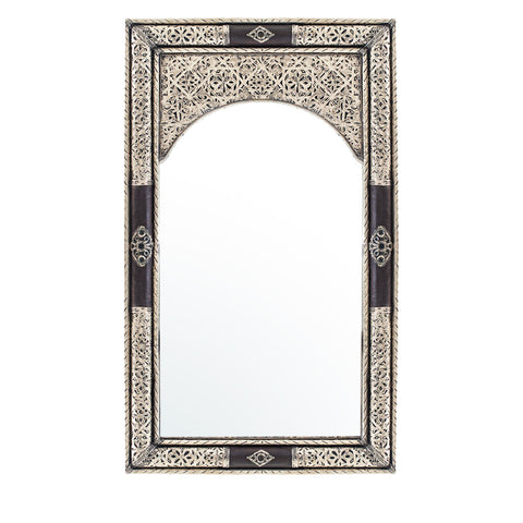 Metal Mirror with Leather
