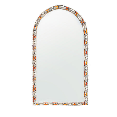 Orange and White Camel Bone Mirror