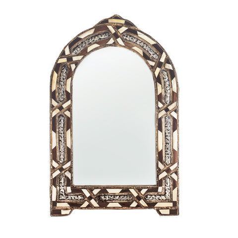 Brown and White Camelbone Mirror