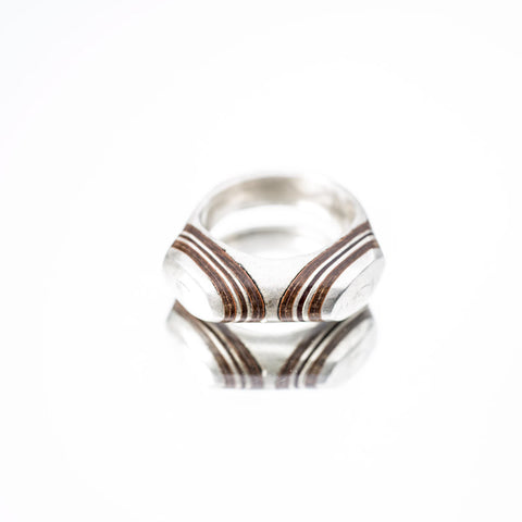 Double Horned Silver and Cedar Wood Ring