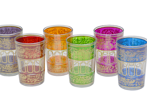 Wide Celebration Tea Glasses- Mixed set of 6