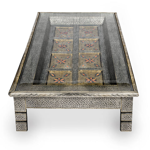 Alpaka Metal Door Table with Dyed Camel Bone Inlay