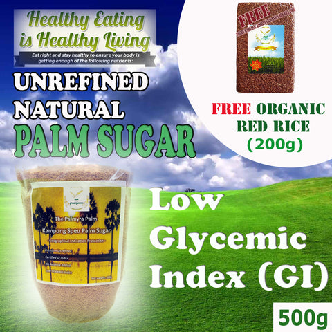 Premium Unrefined Natural Palm Sugar GI (Geographical Indication) 500g + FREE Organic Red Rice 200g