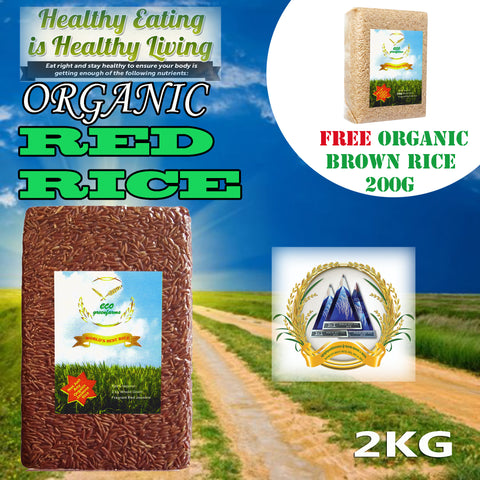 Premium Organic Jasmine Fragrance Red Rice 2kg + FREE Organic Brown Rice 200g