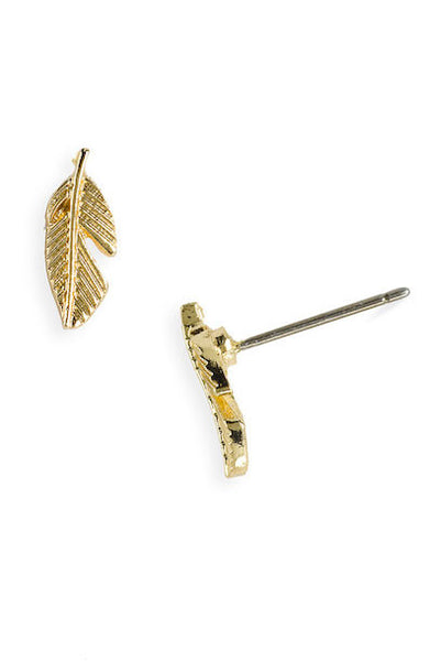 'Bohème' Gold Feather Stud Earrings - Lubie Paris