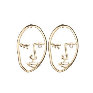 'Pablo' Gold Face Earrings
