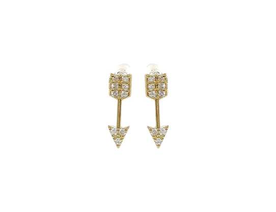 'Fearless' Gold Pavé Arrow Stud Earrings - Lubie Paris