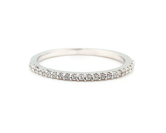 'Eternité' Silver Micro Pavé Ring - Lubie Paris