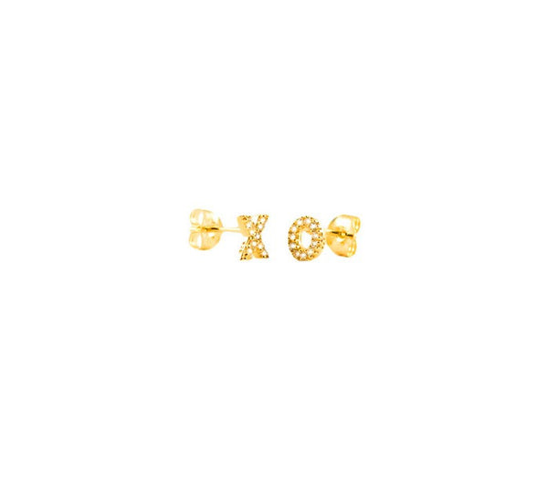 'Baisers' Gold XO Stud Earrings - Lubie Paris