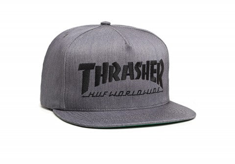 HUF X THRASHER SNAPBACK GRAY HEATHER