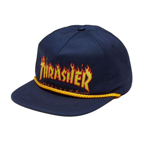 Thrasher - Flame Rope Snapback (Navy)