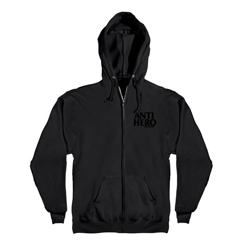 Anti Hero - Lil Black Hero Zip Up Hood (Black/Black)