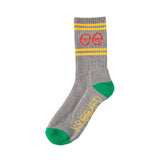 Krooked - Eyes Sock (Heather Grey/Green/Yellow/Red)