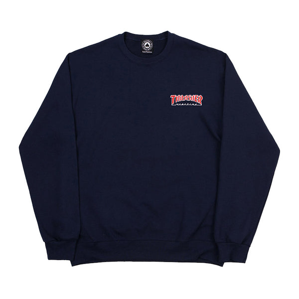 Thrasher - Embroidered Outlined Crew (Navy)