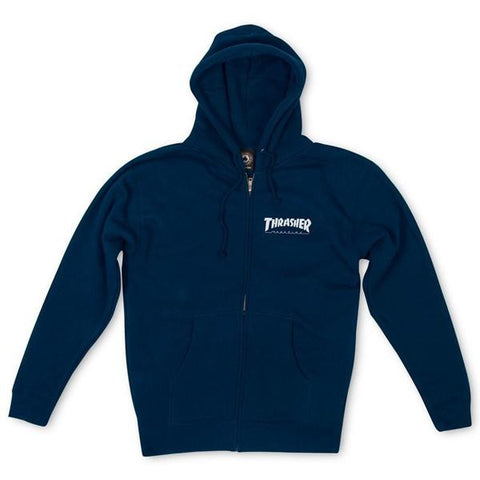 Thrasher - Logo Zip Hood (Navy Blue)