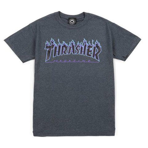 Thrasher - Flame Logo Tee (Dark Heather)
