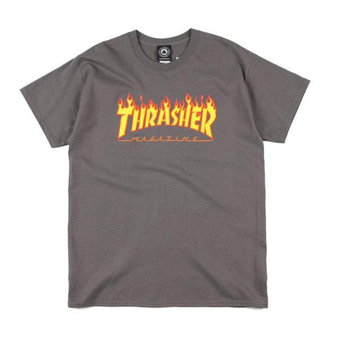 Thrasher - Flame Logo Tee (Charcoal Grey)