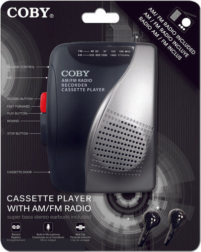 Coby CVR-28-BLK AM/ FM Cassette Recorder W/ Stereo Earbuds