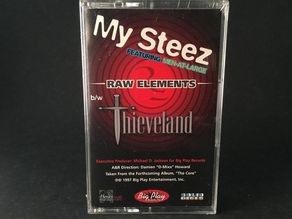 MY STEEZ FEATURING MEN AT LARGE - raw elements b/w thieveland - BRAND NEW CASSETTE TAPE