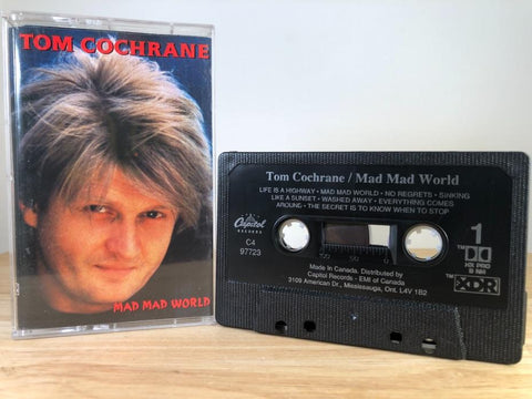 TOM COCHRANE - mad mad world - CASSETTE TAPE [made in Canada]