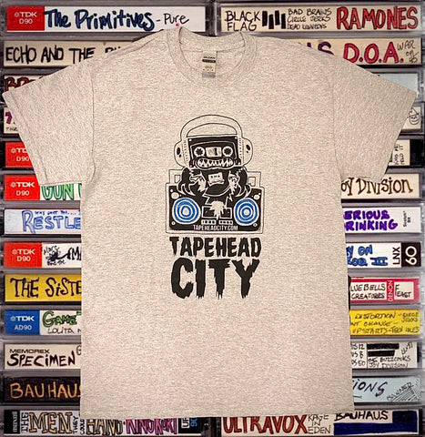 Tapehead City classic logo - grey t-shirt - BLUE SPEAKERS