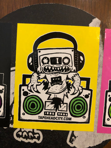 TAPEHEAD CITY STICKER - yellow w/ green speakers [2019]