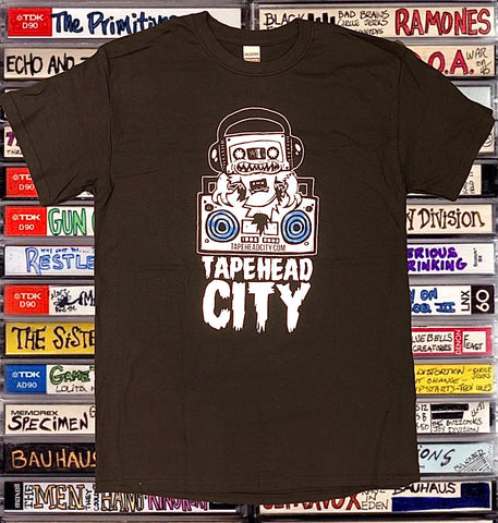 Tapehead City classic logo / black t-shirt - BLUE SPEAKERS
