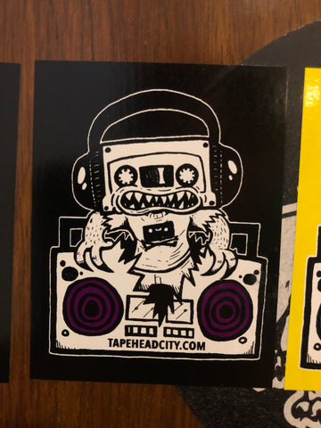 TAPEHEAD CITY STICKER - black w/ purple speakers [2018 late]