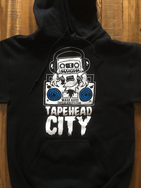 Tapehead city black hoodie - WHITE LOGO / BLUE SPEAKERS