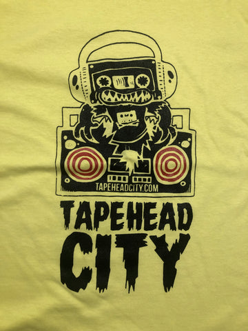 Tapehead City classic logo - Yellow (red speakers) mens T-shirt