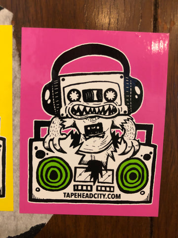 TAPEHEAD CITY STICKER - pink w/ green speakers [2020]