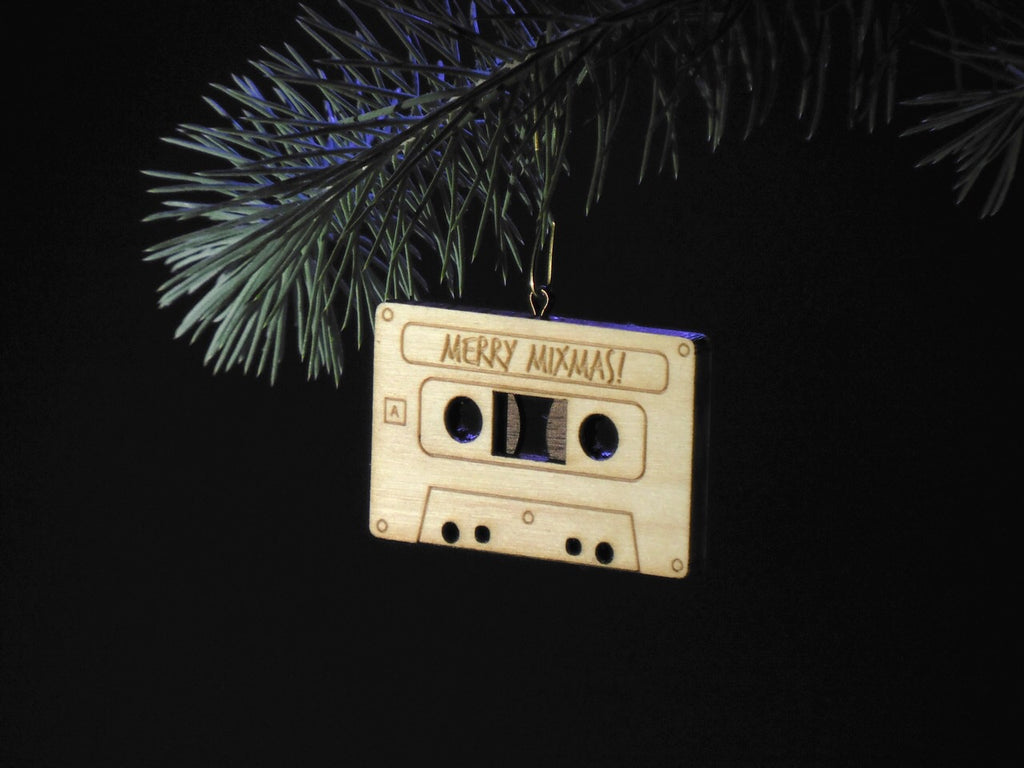 """Merry Mixmas"" Hardwood Miniature (1/2 life size) Cassette Tape Ornament [SALE]"