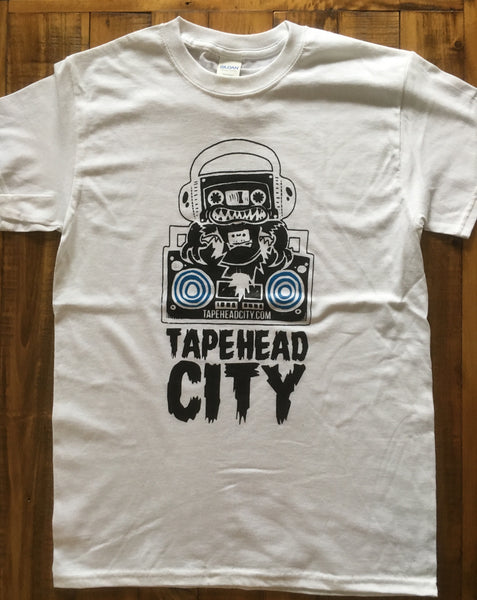 Tapehead city - WHITE SHIRT - BLACK LOGO / BLUE SPEAKERS - mens t-shirt