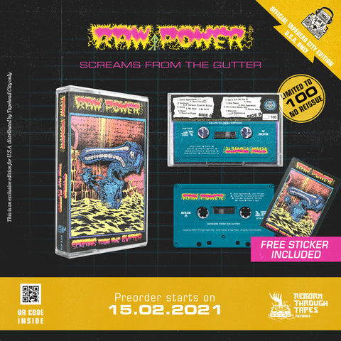 RAW POWER - screams from the gutter - BRAND NEW CASSETTE TAPE [pre-order]