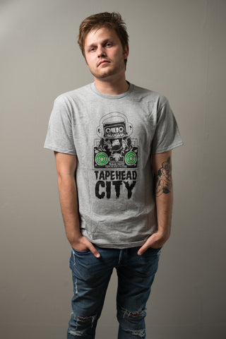 TAPEHEAD CITY - grey - mens t-shirt - GREEN SPEAKER (only small left)