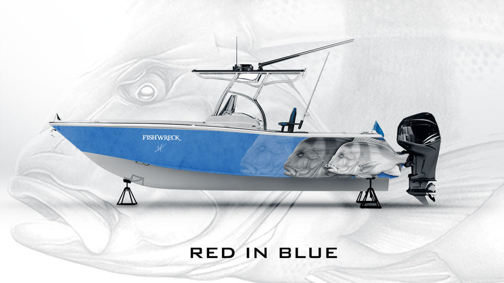 Red Emperor Boat Wrap Blue